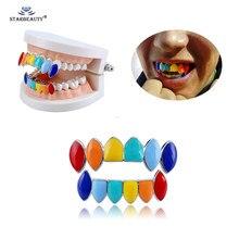 Grills dentadura colorida dourada, 1 conjunto de dentes coloridos de hip hop halloween, dentes de vampiro