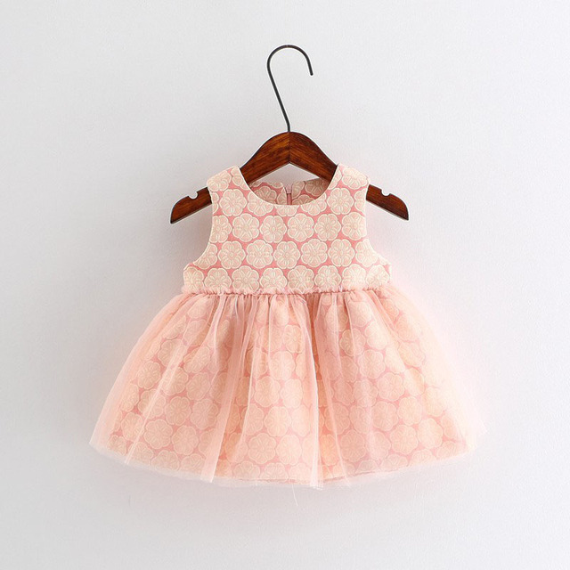 Christmas New Autumn And Spring Fashion Design Baby Girls Clothes Flower Printing Sleeveless Pricess Party Dress Kids Clothes