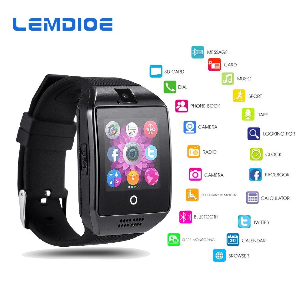 LEMDIOE Q18 Smart Uhr Bluetooth Für Männer Mit TF Sim Karte Unterstützung Kamera Passometer Smartwatch Für Android ios Telefon
