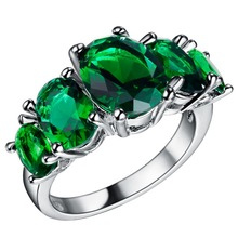 Womens new silver plated jewelry egg-shaped crystal wedding commemorative gift ring