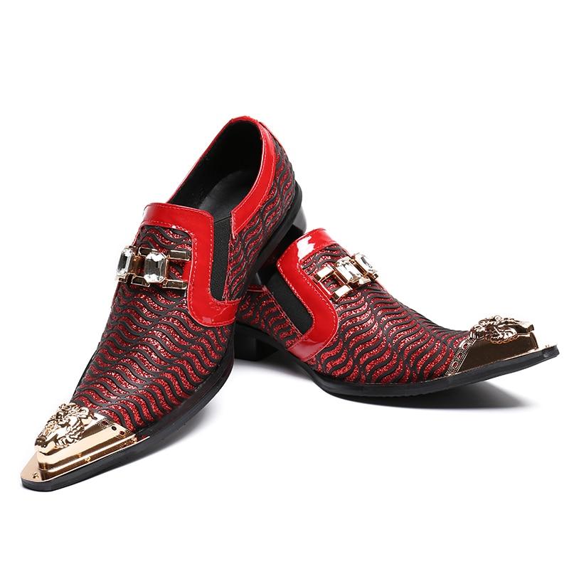 Sapatos Luxo Homens Tamanho Genuíno Dedo Vestem 38 De Metal Formais Negócios Vermelho Toe Se 46 Batzuzhi Casamento Couro Apontado twadA8wq