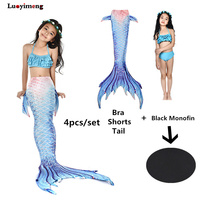Luoyimeng 4 Pieces Girl's Mermaid Tails For Swimming Costume with Monofin Kid Cosplay Tail Swimsuit Bathing Wear Cute Tail Dress