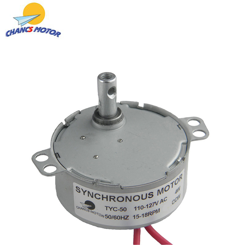 CHANCS TYC-50 Small Synchronous Motor 110V AC 15-18RPM Shaft Rotation CCW 4W Gear Motor For Electric Fireplace