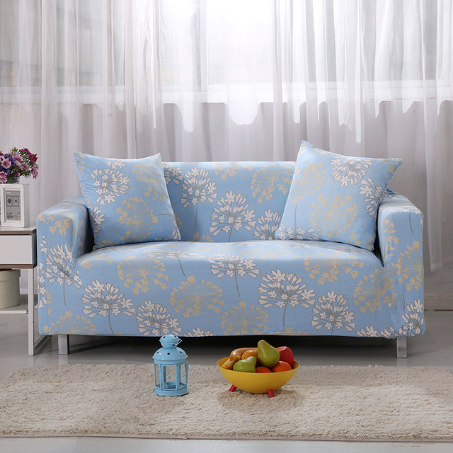 Sofa Covers Elastic Spandex Star Flowers Printed Light Blue Sofa ...