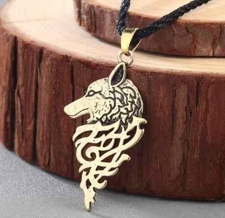 QIMING Harajuku Style słowiańskie kobiety naszyjnik biżuteria Amulet wilk Totem Kolovrat urok Vintage amulety męska Valknut wisiorek prezent