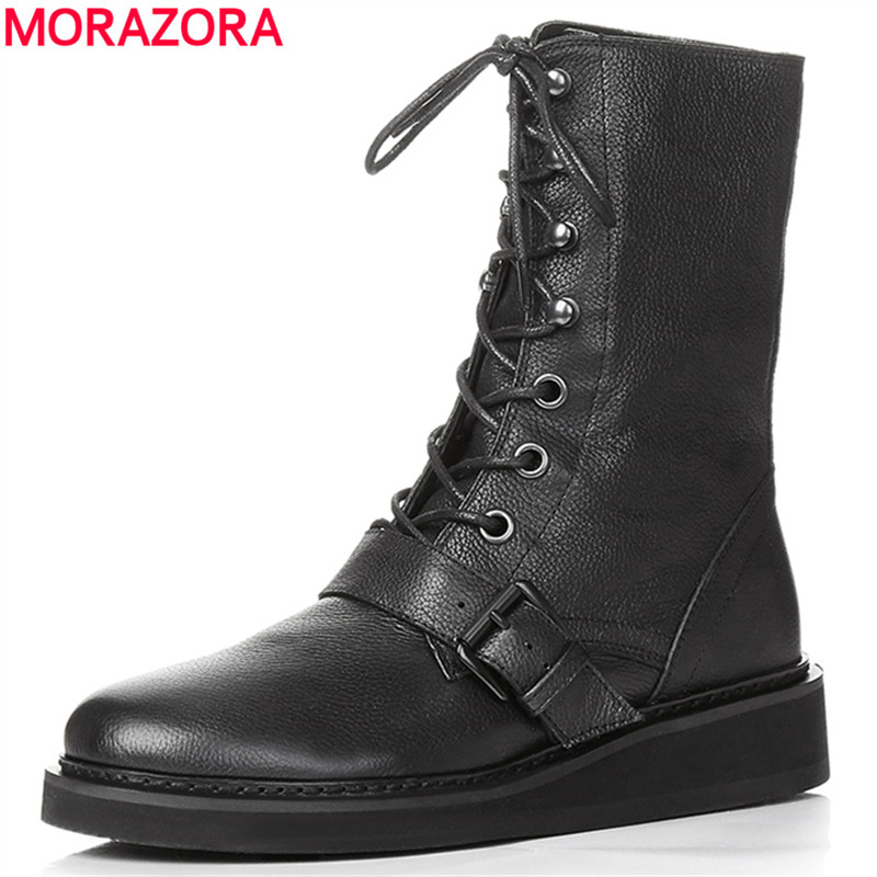 ФОТО 2017 new fashion lace up women boots genuine leather square heel black autumn winter sexy brand ladies ankle boots women shoes