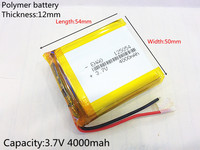 3 7V 4000mAh 125054 Lithium Polymer Battery MP3 MP4 Navigation Instruments Small Toys And Other Products