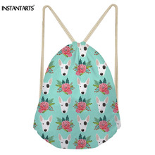 INSTANTARTS Drawstring Bag Women Small Backpack String Sack Drawstring Bagpack Cute Bull Terrier Boston Dog Floral