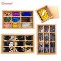 Монтессори математические наборы шахматная доска бусины цепи развивающие игрушки коробка раннее образование номер игра упражнения дерево...