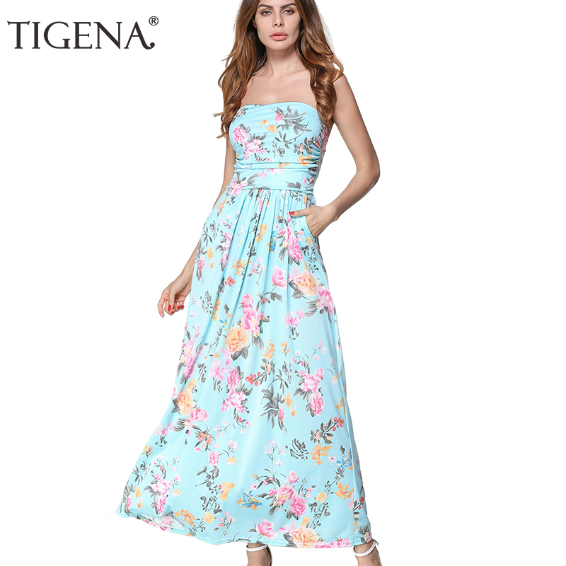 TIGENA Women Summer Dress 2018 Strapless Off Shoulder Long Maxi Dress Sundress Women Summer Tunic Boho Beach Dress Robe Femme
