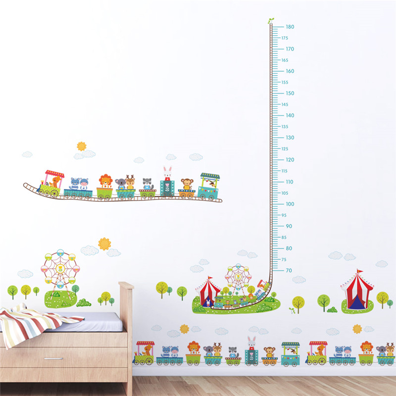 Amusement Park Car Animal Height Measure Wall Stickers For