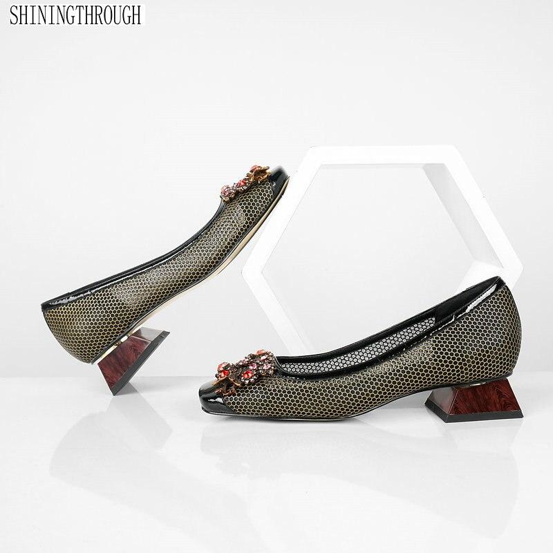 브랜드 디자인 정품 가죽 여성 펌프 고품질 파티 펌프 낮은 뒤꿈치 패션 라인 석 사무실 숙녀 드레스 신발-에서여성용 펌프부터 신발 의  그룹 1