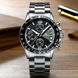 Image 4 - MEGALITH גברים שעונים עסקים קוורץ 30M עמיד למים נירוסטה רצועה שעונים עבור גברים של תאריך אוטומטי שעוני יד שעון Relojes