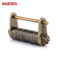 NAIERDI 50*28 мм, цинковый сплав, китайский винтажный античный бронзовый замок с ключом, ретро Комбинированный Замок с паролем, шкатулка, замок