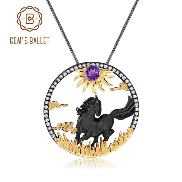GEMS BALLET Natural Amethyst  Zodiac Jewelry 925 Sterling Silver Handmade Sun & Horse Gemstone Pendant Necklace For Women