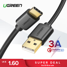 Ugreen 3A USB C Cable for Huawei Mate 20 Pro USB Type C Fast Charging Data Cable for Xiaomi Mi 8 Oneplus 6 5T USB C Charger Cord(China)