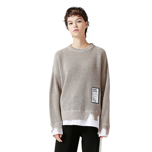 Image 3 - Toyouth Womens Sweater 2018 Patchwork Pullovers Knitted Sweater For Women Crew Neck Long Sleeve Irregular Female Jumpe Tops