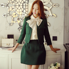 Original 2016 Brand Small Coat Women Autumn Plus Size Pockets Slim Fashion Casual Solid Dark Green Short Basic Jacket Wholesale