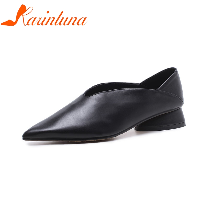 KARINLUNA 2018 Cow Leather Large Size 33-43 Pointed Toe Women Shoes Woman Slip On Square Low Heels Pumps Woman Shoes egonery spring air slip on round toe square low heels office women shoes pumps woman shoe plus size 40 43
