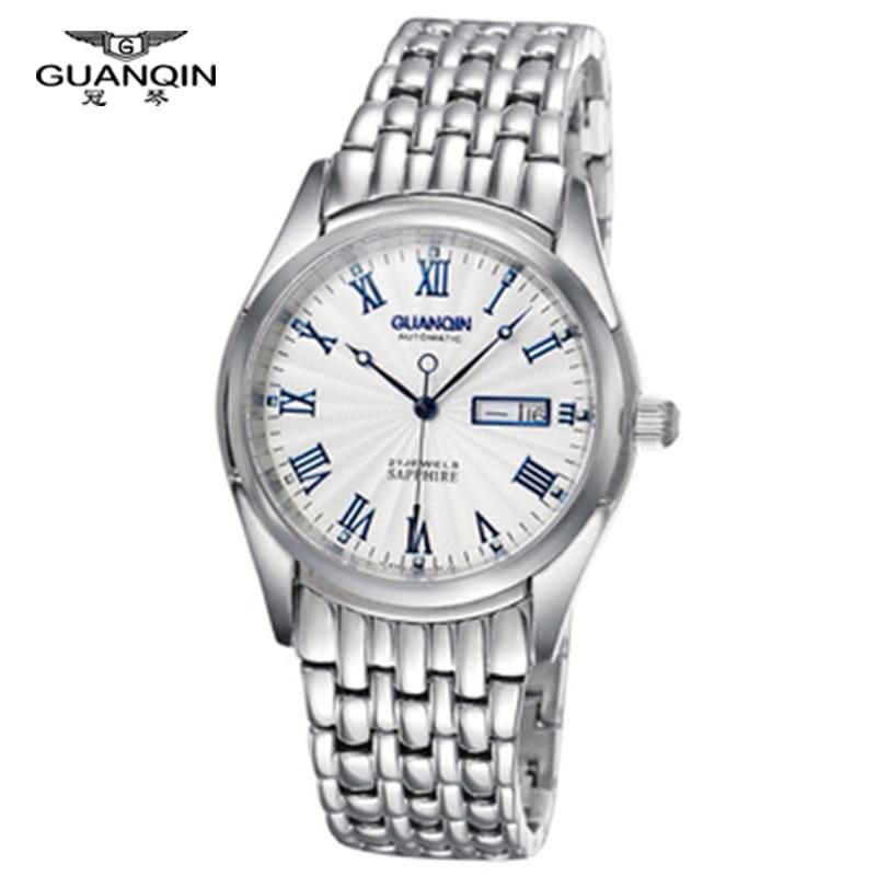 Top brand GUANQIN Watch business Calendar Sapphire GQ10009 stainless steel waterproof Luminous Men watches mechanical