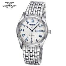 Top brand GUANQIN Reloj de negocios Calendario de Zafiro (GQ10009) Luminoso impermeable relojes de Los Hombres mecánicos de acero inoxidable