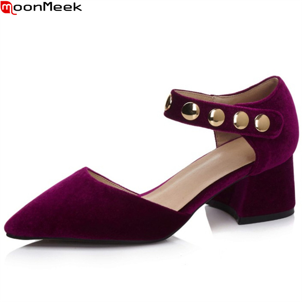 MoonMeek blue pink fashion spring autumn shoes woman pointed toe square heel casual flock women high heels shoes asumer beige pink fashion spring autumn shoes woman square toe casual single shoes square heel women high heels shoes