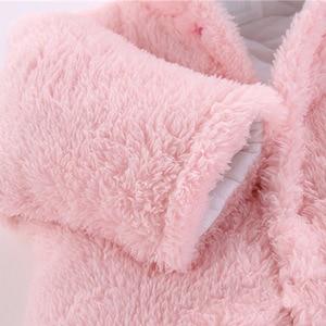 Image 3 - 2019 신생아 겨울 겨울 까마귀 옷 유아 아기 소녀 소년 따뜻한 등산 겉옷 Rompers 두꺼운 보풀 점프 슈트 6 색
