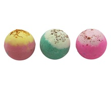 3X120g Organic Bath Bombs, Dried Flower Petals, Round Pattern, Moisturizing  Nourishing , Handmade, Christmas Gift,Bath Salts