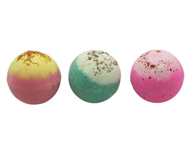 3X120g Organic Bath Bombs, Dried Flower Petals, Round Pattern, Moisturizing Nourishing , Handmade, Christmas Gift,Bath Salts