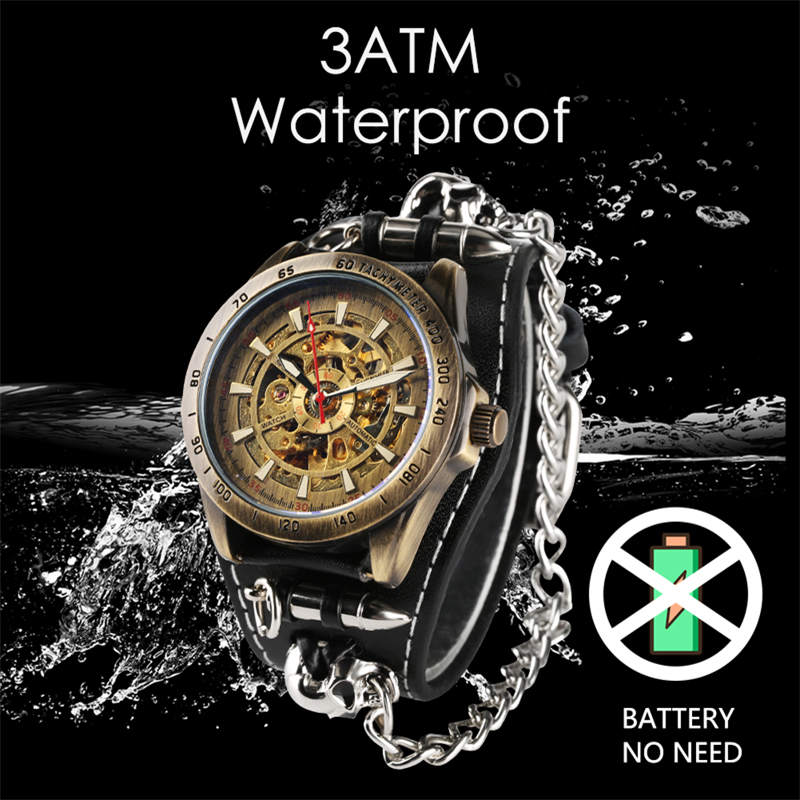 Cool Punk Bracelet Mechanical Watch Automatic Self Wind Wristwatch Skull Bullet Chain Gothic Style Leather Strap Men Gifts