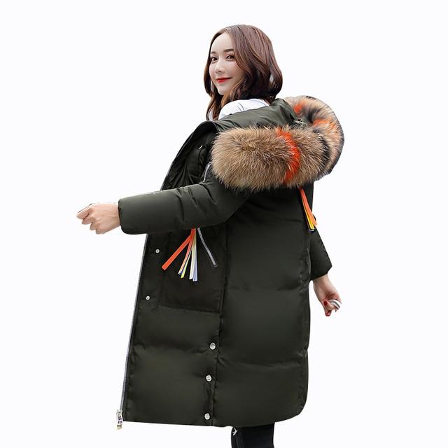 9fea2aa52 Rlyaeiz 2018 Winter Jacket Women Big Fur Hooded Parka Down Cotton ...