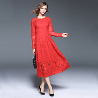 3XL Elegant Red Hollow Out Floral Lace Women Dress Plus Size Long Sleeves A Line Mid