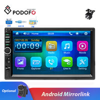 Podofo 2 din car radio 7 Bluetooth Car Multimedia MP5 Player Touch Screen Autoradio Audio Stereo FM USB With Rear View Camera