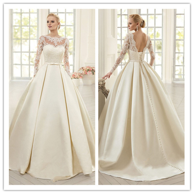 Elegant Ivory Lace Wedding Dresses Long Sleeves Soft Satin Dress Bow Vestido De Noiva Court