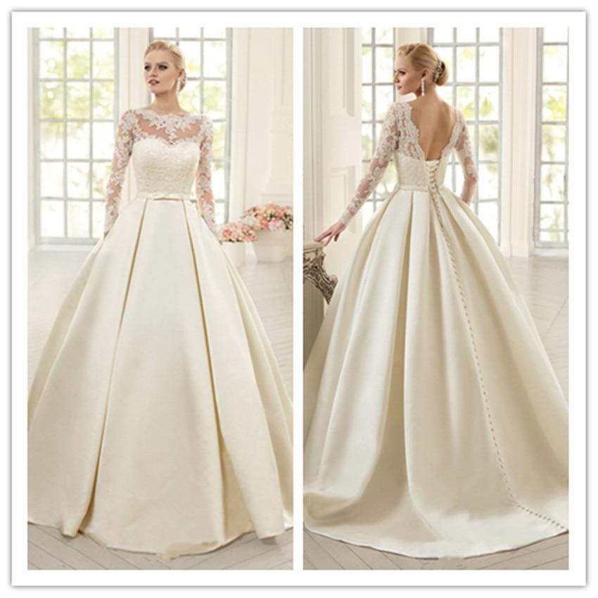 elegante marfil vestidos de novia de encaje de manga larga soft raso