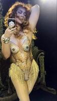 2019 Women New Sexy Gold Rhinestones Tassel Bodysuit Fashion Shining Dance Wear Costumes Stage Clothing Party Leotard Wear