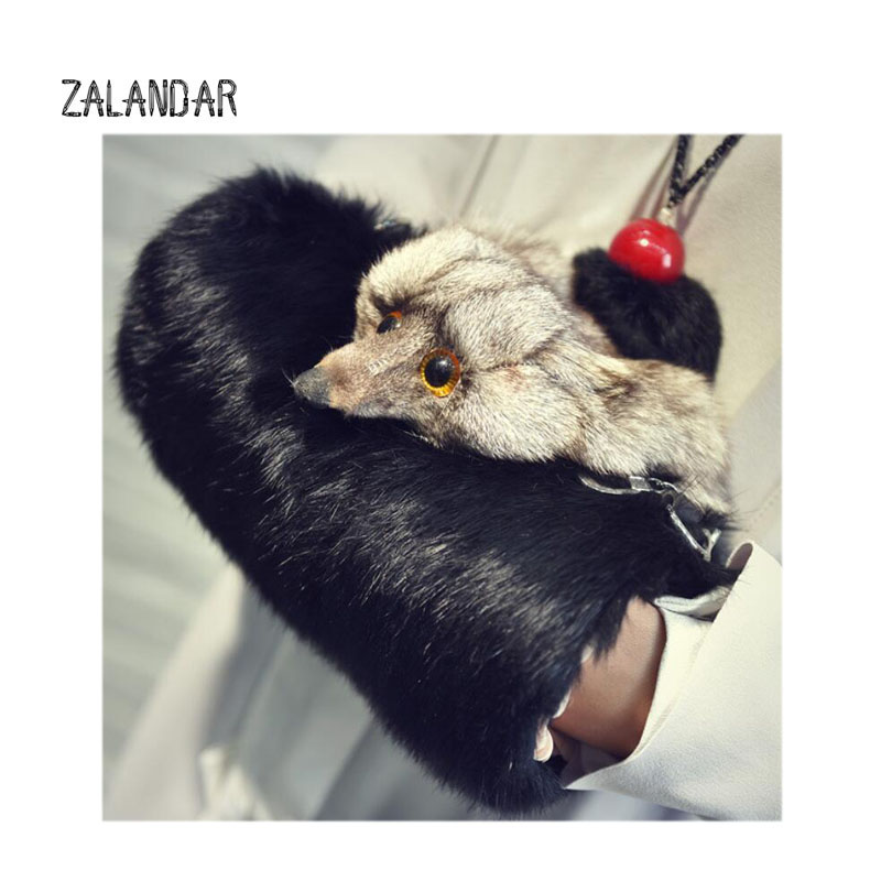 Rabbit Fur bag Women Winter Shoulder Bag Real Fur Handbag Women Messenger Bag Shoulder fox head