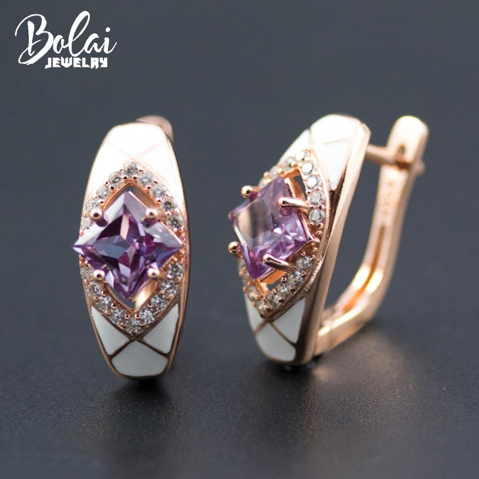 Bolai élégant alexandrite boucles d'oreilles 925 argent sterling changement de couleur pierre précieuse émail blanc bijoux fins pour les femmes boucle d'oreille de mariage