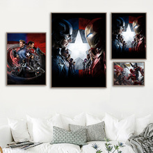 The Avengers Iron Man Captain America Movie Poster Nordic Wall Art Canvas Painting Child Room Wall Picture For Living Room Decor фреска the whole room room america syz003a