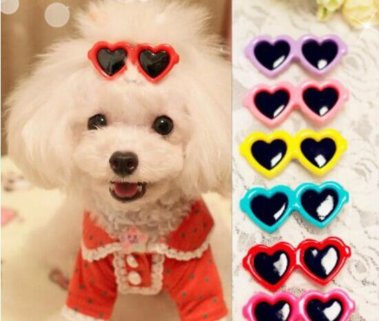 Pet Dog Hair Clips Love Style Doggie Boutique Sunglasses Pet Grooming Hair Accessories Bows