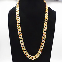Uodesign 14mm Men's Necklace Hiphop Iced Out Miami Curb Cuban Gold Necklace Paved Clear Rhinestones Womens Mens Chain