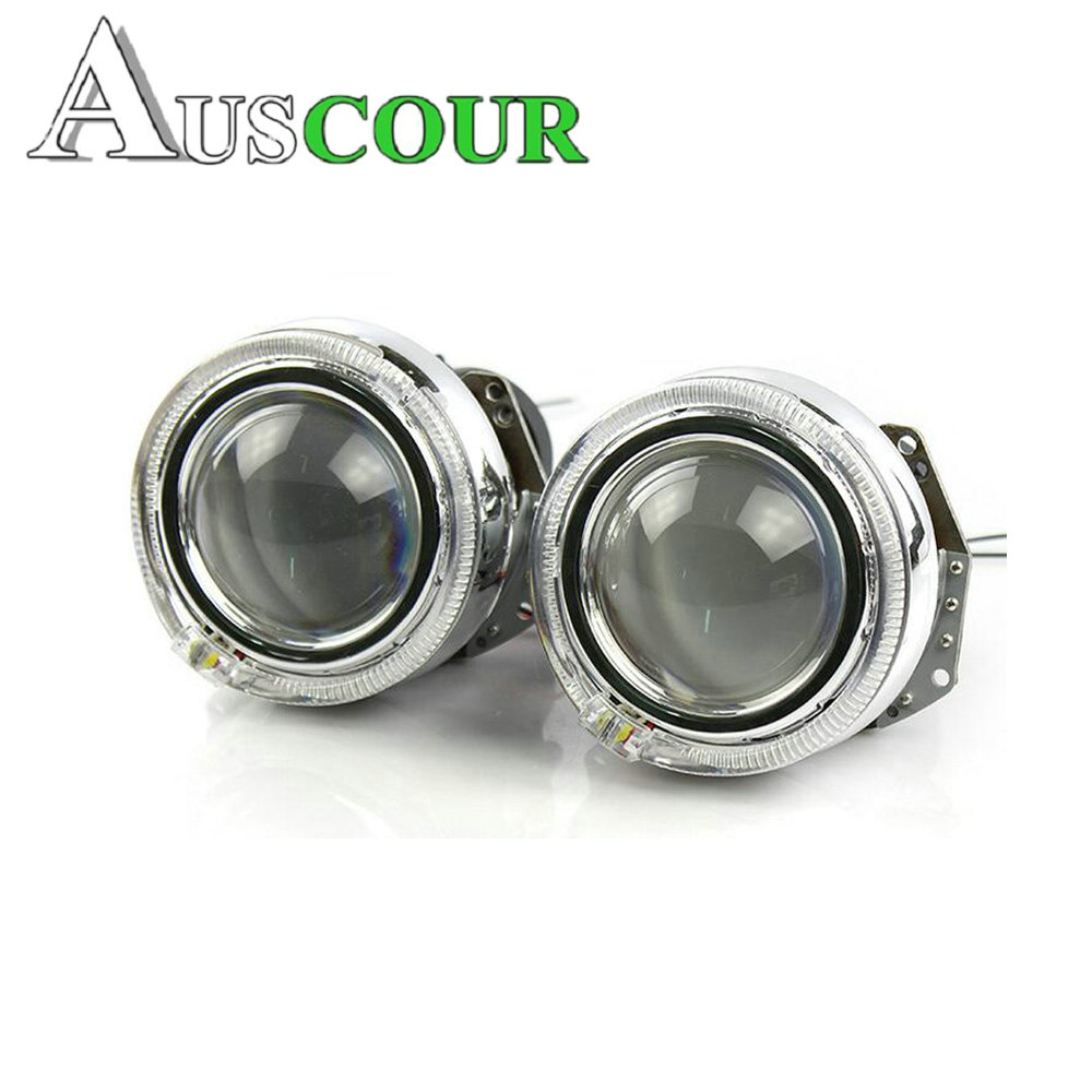 car styling hid bixenon projector lens hella 5 with tiguan led day running DRL white angel eyes free shipping 2 5inch bixenon projector lens with drl day running angel eyes angel eyes hid xenon kit h1 h4 h7 hid projector lens headlight