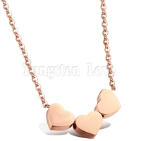Wholesale Three Hearts Pendant Necklaces For Woman Cute Rose Gold Plated Full Steel Link Chain Woman