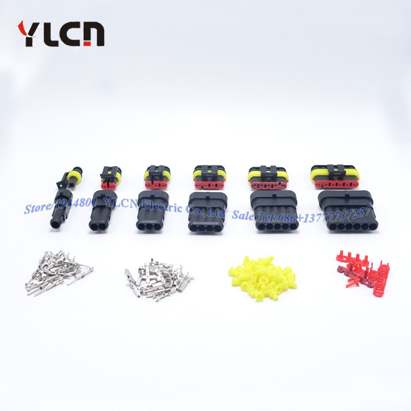 High Quallity 6set 1/2/3/4/5/6 Pin Way HID Waterproof Electrical Wire Connector Plug 6 in 1 sample kits for car Boat ect