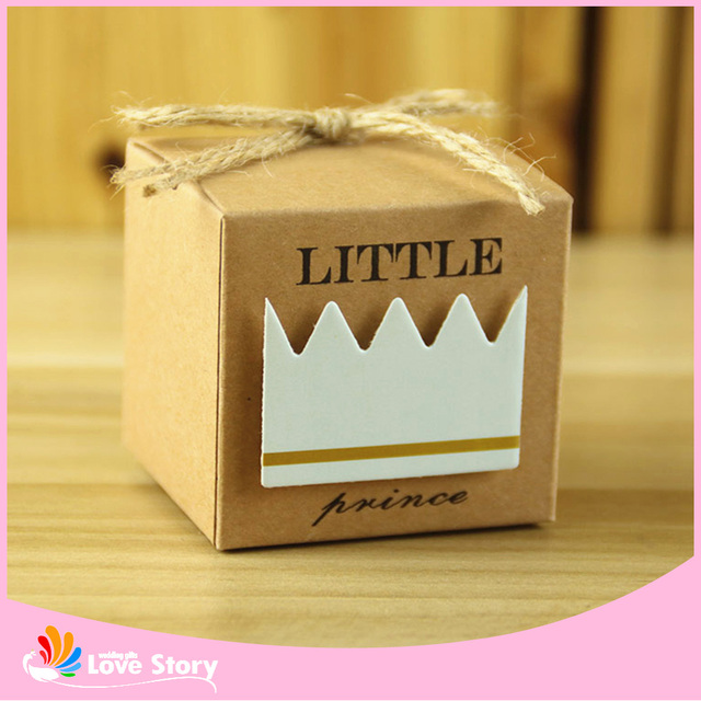50pcs Little Princess/Prince Kraft Paper Candy Box For Guests Favor Box Birthday Kids Party Supplies Baby Shower Decorations