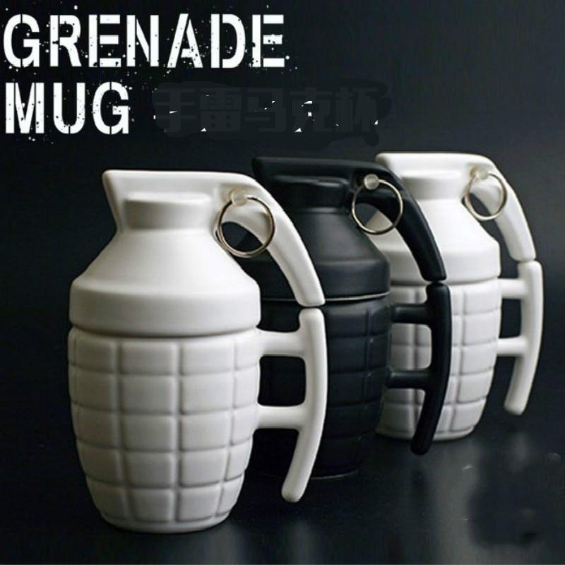 Creative Novelty Grenade Mug Funny Designed Ceramic Water Coffee Mug with A Lid Grenade Boyfriend GIFT H 14.5cm