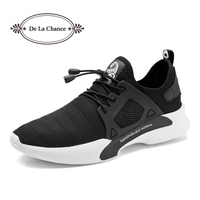 DE LA CHANCE New Men Casual Shoes 2018 Summer Krasovki Black Grey Male Hot Trend Flats