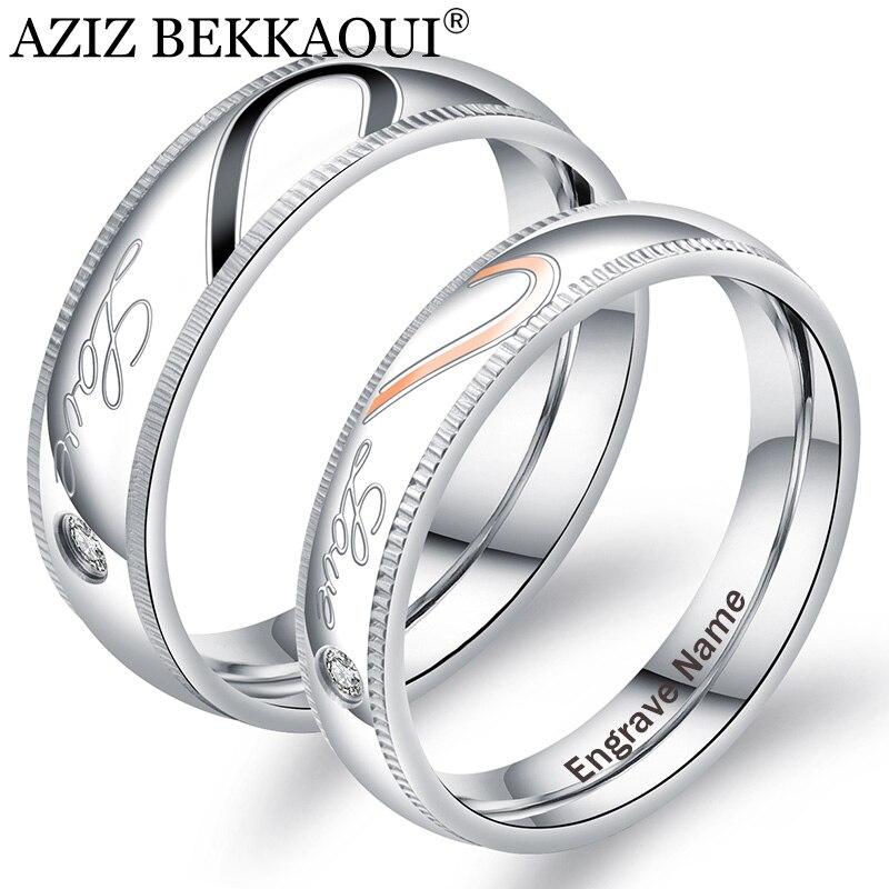 ca37733bad1f Ziz BEKKAOUI amor corazón cristal pareja anillos grabar nombre Acero  inoxidable anillos promesa banda compromiso boda joyería regalo