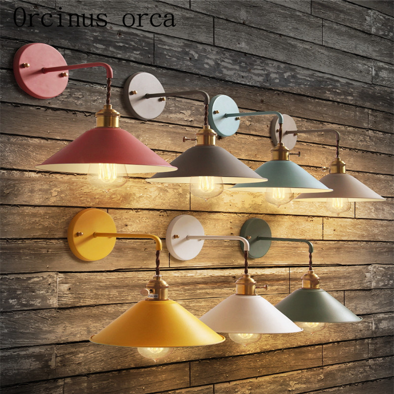 The Nordic modern creative color wall lamp room aisle stairs bedroom bedside Macarons small umbrella wall lamp free shipping free shipping 220v high quality modern acrylic lights creative wall lamp fit to install the new listing study bedroom aisle