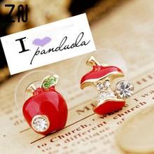 ZN Hot sale Fashion lovely red drops of glaze asymmetric apple crystal stud earrings for women Cheap Jewelry